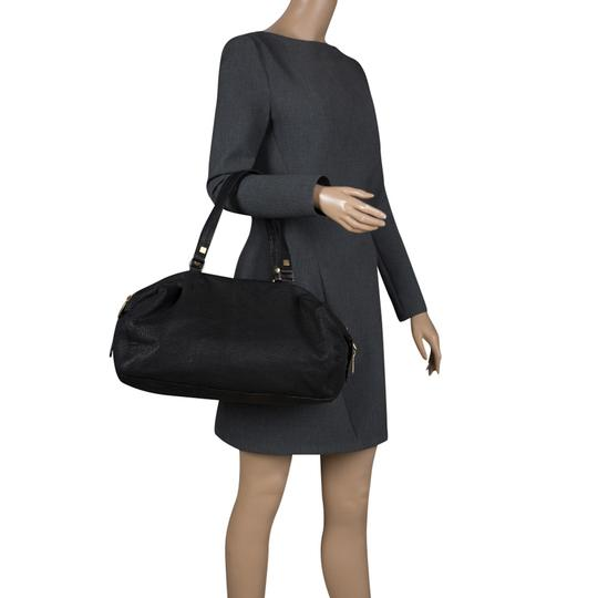 Céline Leather Fabric Satchel in Black Image 2