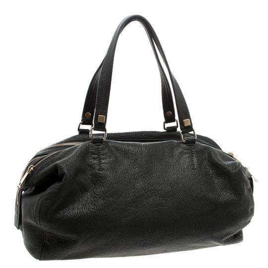 Céline Leather Fabric Satchel in Black Image 4