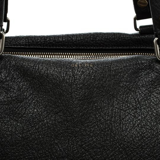 Céline Leather Fabric Satchel in Black Image 6