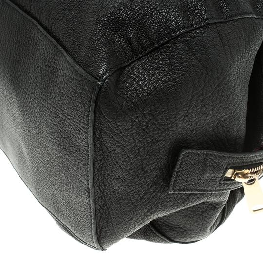 Céline Leather Fabric Satchel in Black Image 7