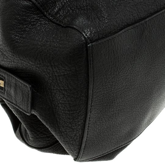 Céline Leather Fabric Satchel in Black Image 9