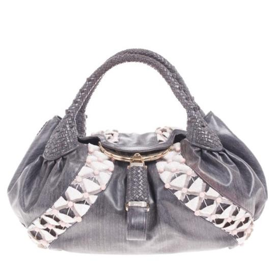 Preload https://img-static.tradesy.com/item/26420301/fendi-grey-limited-edition-beaded-spy-canvas-tote-0-0-540-540.jpg