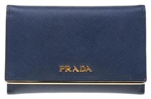 Prada Prada Blue Saffiano Leather Flap Wallet