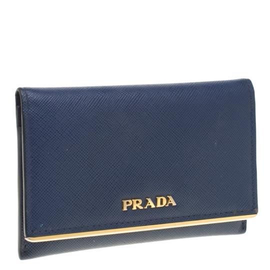 Prada Prada Blue Saffiano Leather Flap Wallet Image 2