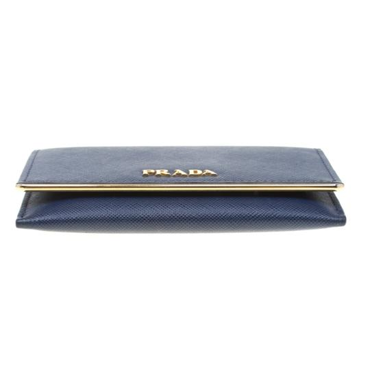 Prada Prada Blue Saffiano Leather Flap Wallet Image 3