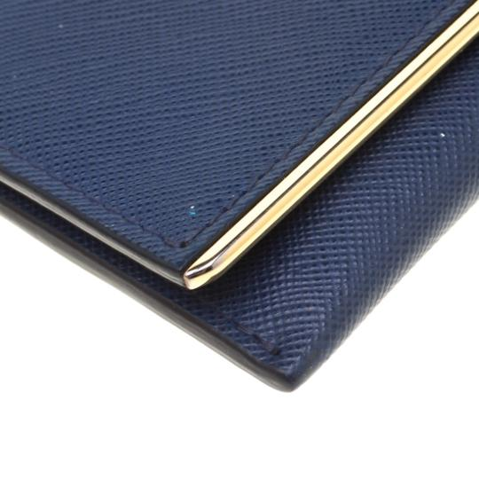 Prada Prada Blue Saffiano Leather Flap Wallet Image 4