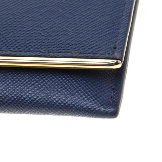 Prada Prada Blue Saffiano Leather Flap Wallet Image 5