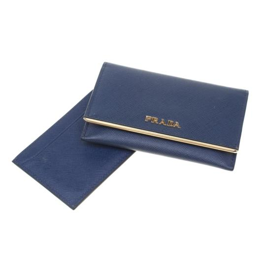 Prada Prada Blue Saffiano Leather Flap Wallet Image 8