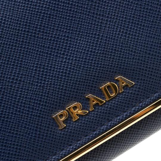 Prada Prada Blue Saffiano Leather Flap Wallet Image 9