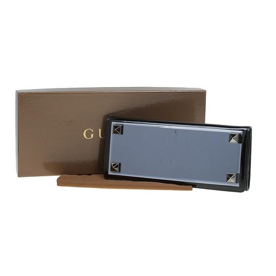 Gucci Leather Studded Patent Leather Black Clutch Image 11