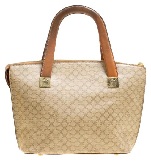 Céline Leather Canvas Tote in Beige Image 0