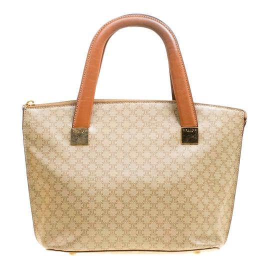 Céline Leather Canvas Tote in Beige Image 1