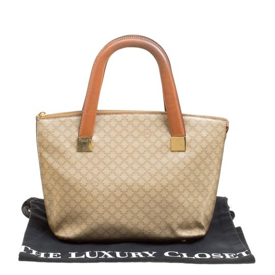 Céline Leather Canvas Tote in Beige Image 11