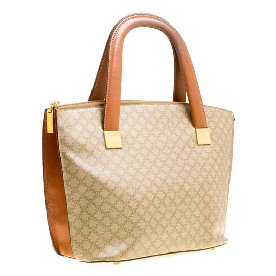 Céline Leather Canvas Tote in Beige Image 3