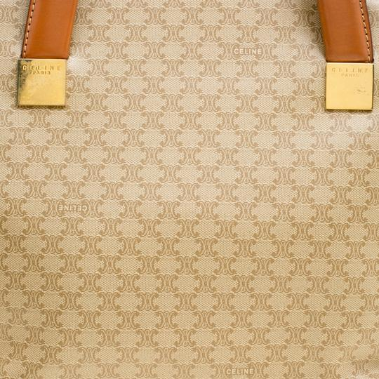Céline Leather Canvas Tote in Beige Image 9