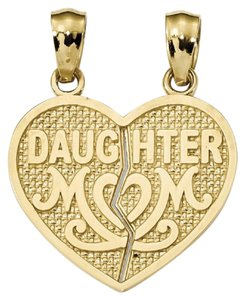 Apples of Gold DAUGHTER MOM BREAK APART HEART PENDANT, 14K GOLD