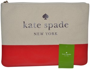 Kate Spade NWT KATE SPADE ASH STREET GIA COSMETIC POUCH CASE CLUTCH BAG BEIGE RED