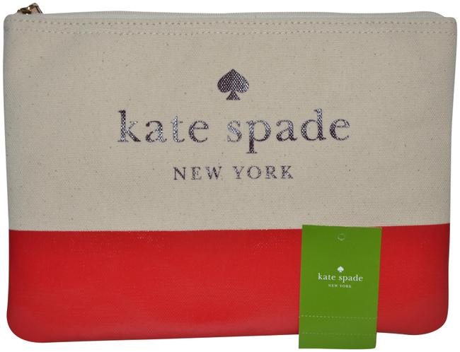 Item - Red Beige Prickly Pear Pouch Clutch Ash Street Gia Case Cosmetic Bag