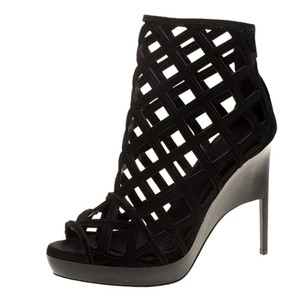 Burberry Suede Wedge Ankle Leather Black Boots