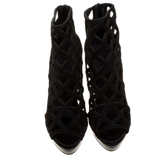 Burberry Suede Wedge Ankle Leather Black Boots Image 1