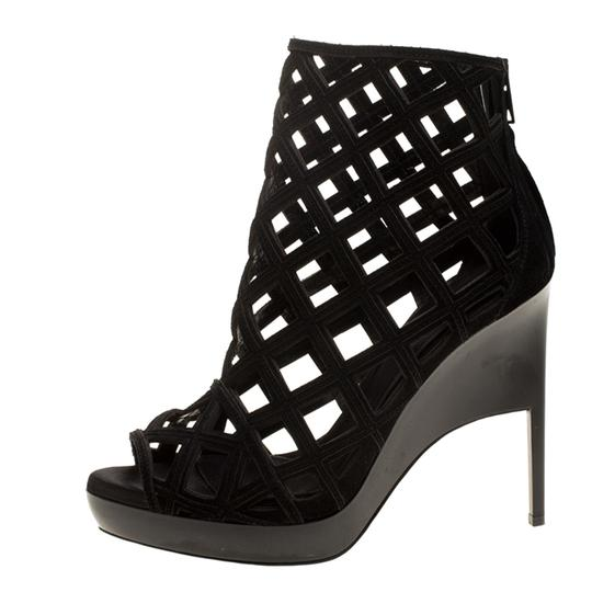 Burberry Suede Wedge Ankle Leather Black Boots Image 4