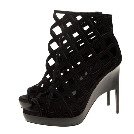 Burberry Suede Wedge Ankle Leather Black Boots Image 6
