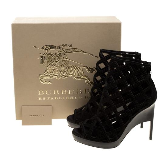 Burberry Suede Wedge Ankle Leather Black Boots Image 7