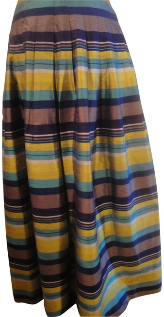 Item - Multicolor Petites Silk Striped Pleated Long Skirt Scarf/Wrap
