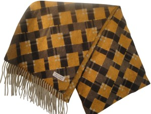 Amicale Cashmere Amicale Cashmere Mustard Gray Plaid Fringed Scarf