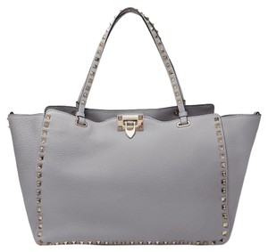 Valentino Rockstud Leather Tote in light gray
