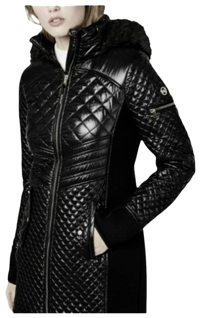 Item - Black Hooded Quilted Mixed Media Jacket Puffer M Coat Size 10 (M)