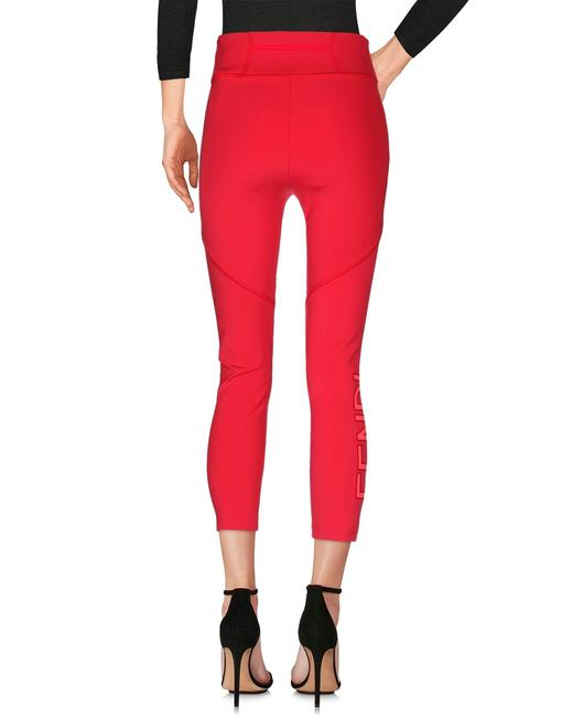 Fendi Monogram Gold Hardware Zucca Logo Paneled Red Leggings Image 2