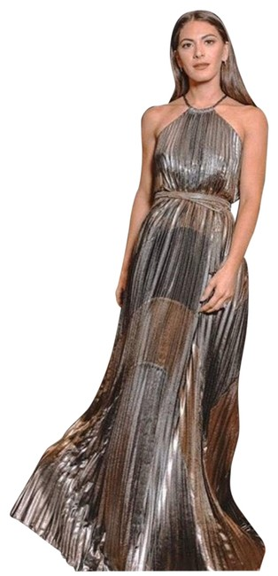Item - Black/Gold Metallic Colorblocked Pleated Gown Long Casual Maxi Dress Size 8 (M)