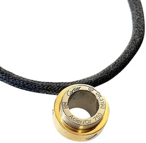 Cartier Santos 18k Gold & Steel Barrel Pendant Charm