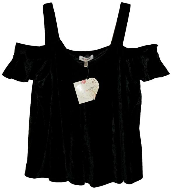 Item - Black Off-shoulder Ruffle Sleeve with Straps Large Blouse Size 12 (L)