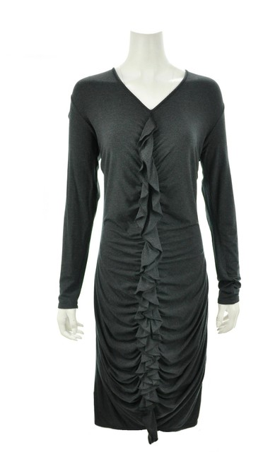 Item - Grey Charcoal Ruffled Large New with Tags Work/Office Dress Size 12 (L)