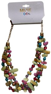 Mix It Womens Multicolor Pastal And Gold Tone Adjustable Necklace By Mixit