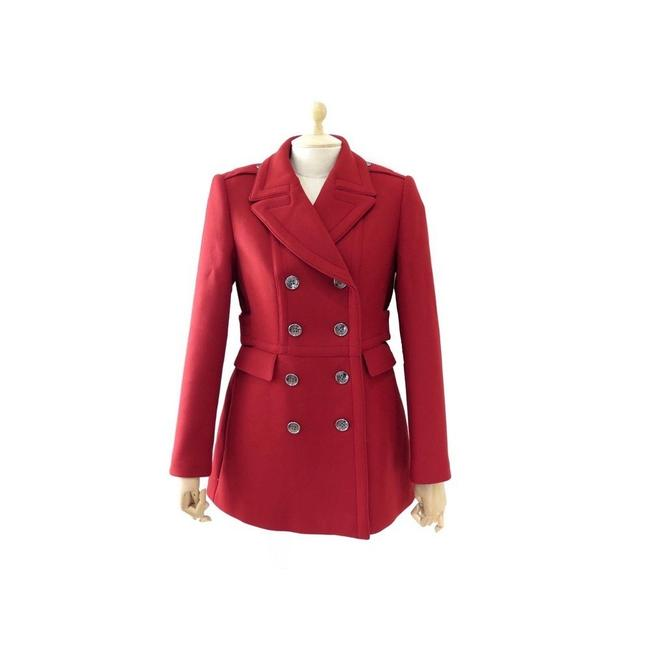 Item - Red Newmont Wool Double Breast Military Pea Us Uk 12 Coat Size 10 (M)