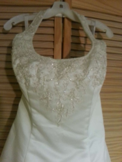 Alfred Angelo Ivory Cafe Satin 1424 Formal Wedding Dress Size 14 (L)