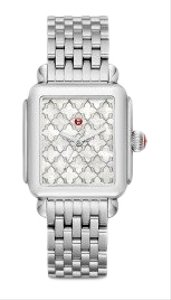 Michele NWT Deco White Mother of Pearl Mosaic Dial Watch MW06T00A0116