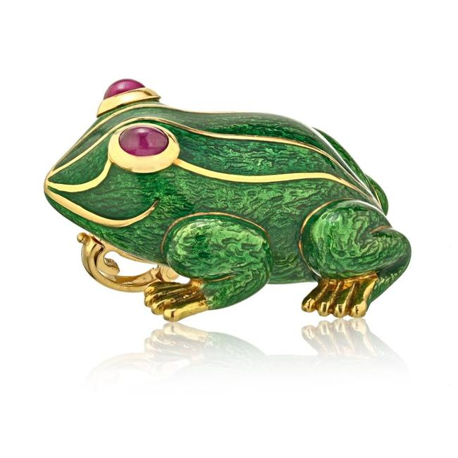 Item - Green Enamel and Gold Frog Pin Brooch Pendant