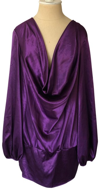 Item - Purple Shiny Cowl Neck Long Sleeve Blouse Size 16 (XL, Plus 0x)