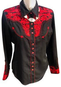 Scully Western Vintage Button Down Shirt Red Black
