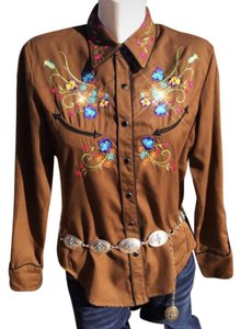 Scully Western Vintage Button Down Shirt Brown Multi