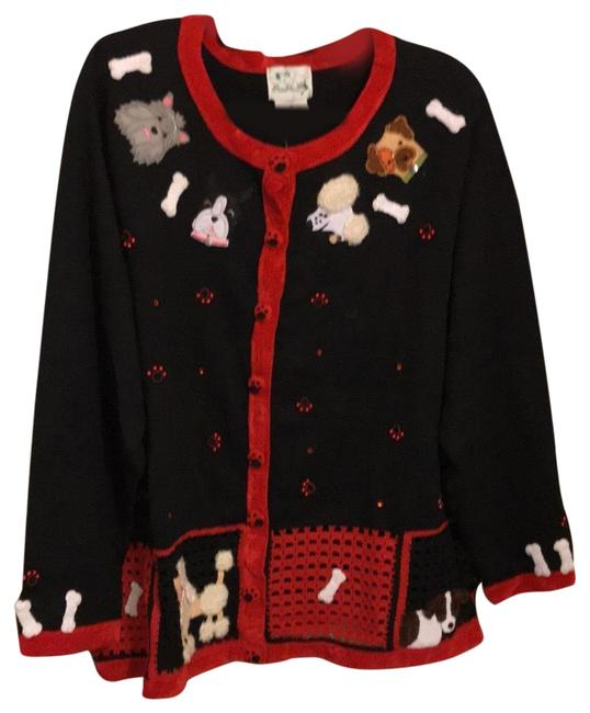 Item - Rn 106306 Black Red and Multi Colored Puppy Heads Sweater