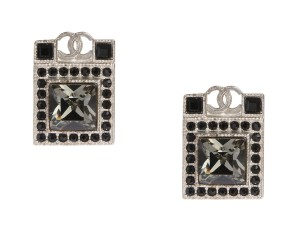 Chanel SILVER TONE AND DARK CRYSTAL SQUARE LOGO PIERCED EARRINGS