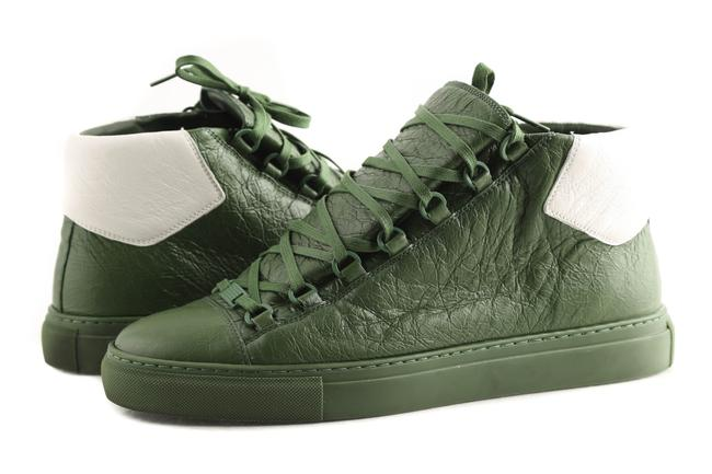 Item - Green Leather Mid-top Sneaker Shoes