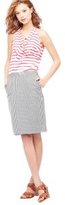 J.Crew Black Stripe Pencil #2 New Nwot Pocket Pockets Seerksucker Striped Skirt