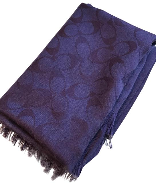 Item - Dark Purple Signature C Logo Wool Silk Blend Scarf/Wrap