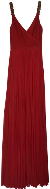 Item - Red W Pleated Maxi Gown W/Leather Belt Straps Long Formal Dress Size 4 (S)